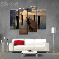4 Panels Modern Landscape Spray Paintings Lake Meditate Canvas Printing Wall Picture Art for Living Room