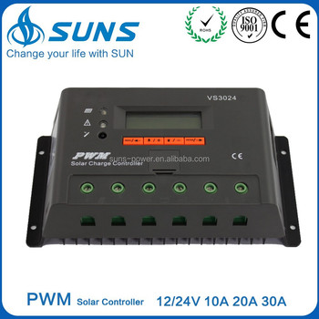 PWM 12V 24V 48V 30A solar panel charge controller with CE RoHS ISO9001