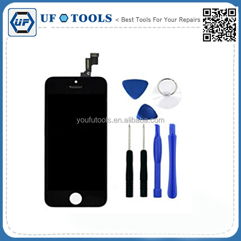 ConPush Black LCD Touch Screen Replacement for Apple iPhone 5S + Repair Tool Set (Black)