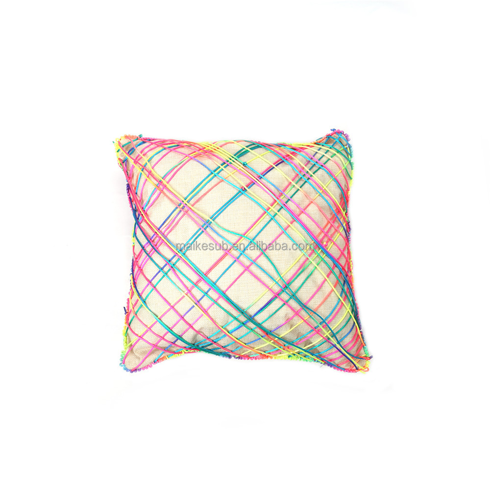 square linen pillow including 5m rainbow rope full printed pillow
