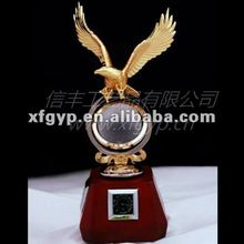golden eagle and ball awards crystal base metal trophy cup