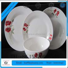 High quality 20pc fine porcelain round with decal kitchenware