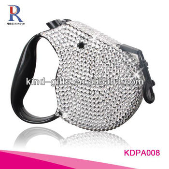 New Bling Rhinestone Retractable 2 Dog Leash Pet Leash With Crystal