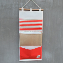 New Brand Cotton Fabric <strong>Wall</strong> Pocket Hanging Bags Waterproof <strong>Bathroom</strong> Storage Bags Stripe Home <strong>Decorating</strong> Makeup Organizer