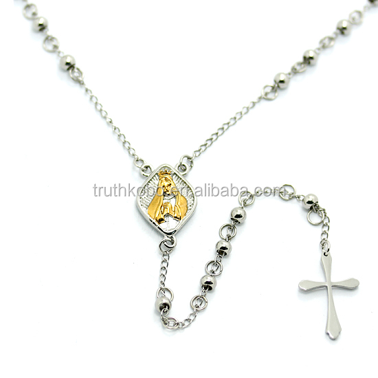 Silver Rosary Style Necklace in 18k Gold Over Saint Medal 316 Stainless Steel Necklace with Cross