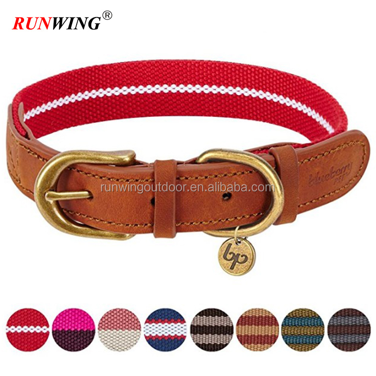 Polyester Fabric and Soft Genuine Leather Webbing Dog Collar, 8 Colors, Matching Leash Available Separately