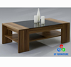 Wooden tea table with glass top glass center table