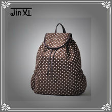 Fashion 100% cotton draw string with cover white polka dot teens travel backpack