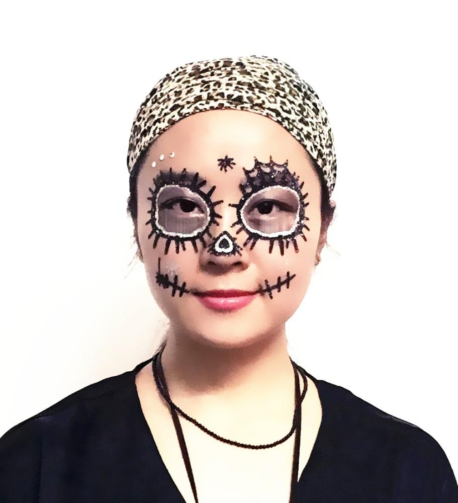 ds0224e halloween party d coration maquillage visage temporaire tatouage autocollant tatouage. Black Bedroom Furniture Sets. Home Design Ideas