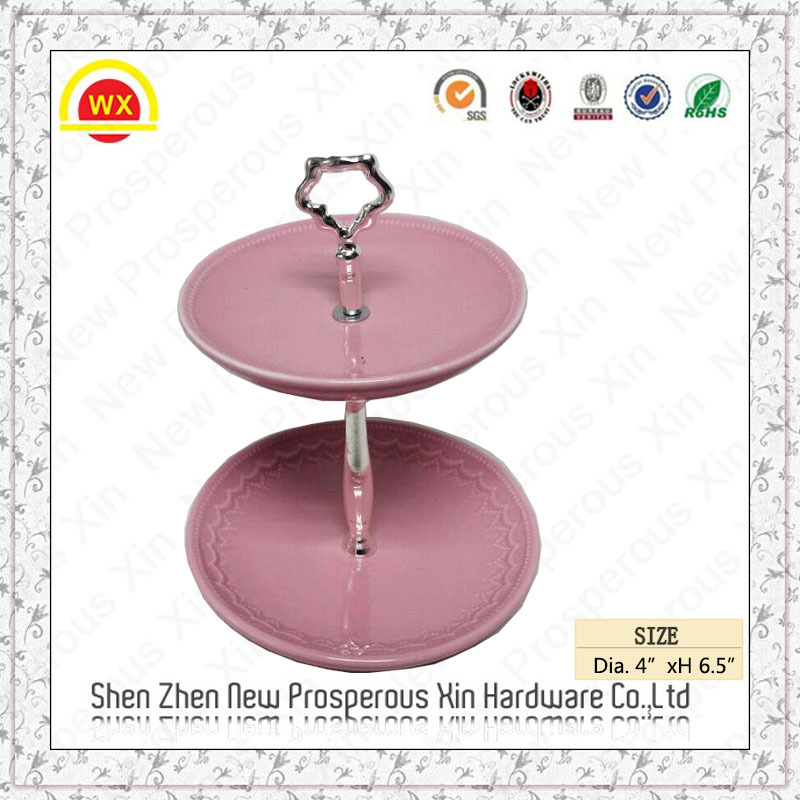 Hardware mini handle custom shape stainless 3-layer cake stand