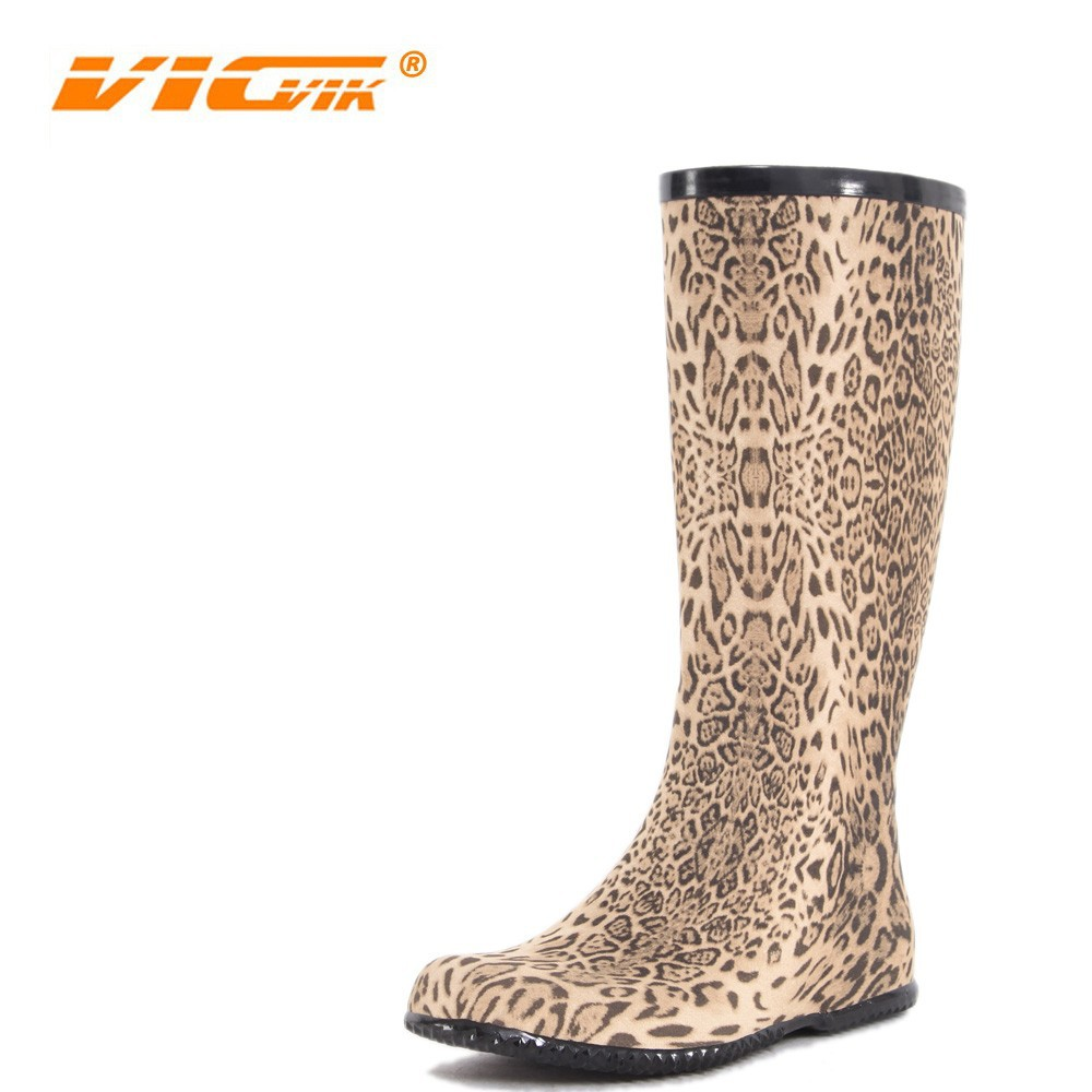 2017 Rain Boots Women Leopard Yellow Thigh High Rubber Latex Fashion Safety Waterproof Cheap Over Knee Rain Shoes China D119