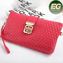 Women trendy cheap wallets importer of leather wallets grid leather clutch purse AL255