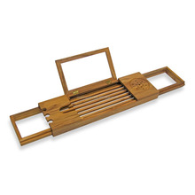 Bamboo Bathtub tray Caddy with Extending Sides and Adjustable Book Holder new bathroom rack with bath soap and Stemware holder