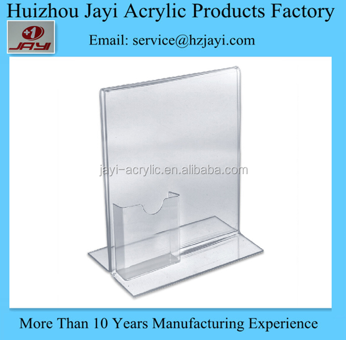 Made in China acrylic table stand menu holder with name card holder, Wholesale A5 size acrylic menu holder