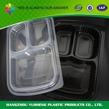 Plastic disposable compartment lunch box, take away lunch box