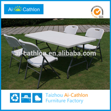 Modern Furniture 6ft 1.8m plastic folding dining table and chair, outdoor furniture cheap plastic folding catering banquet table
