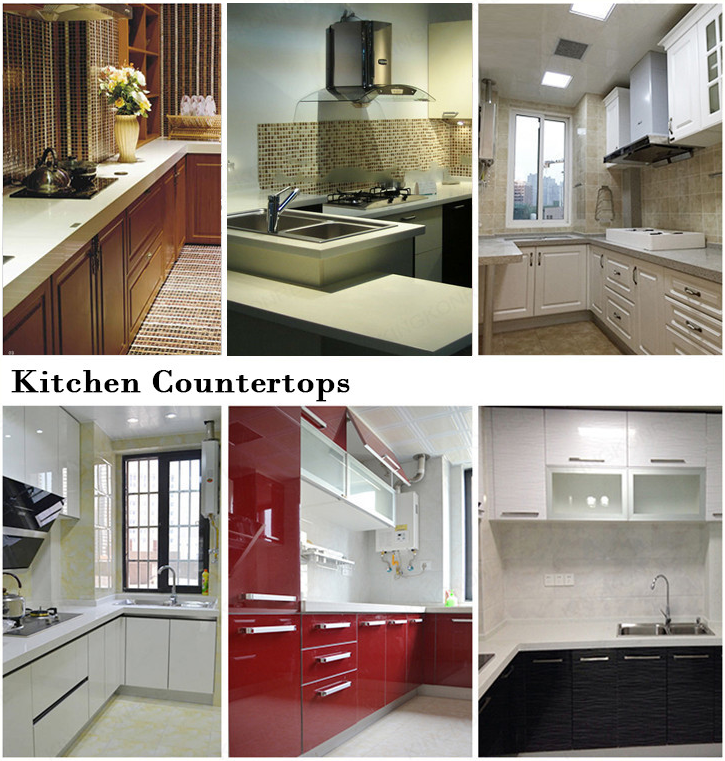 Polished artificial stone prefab kitchen quartz countertop
