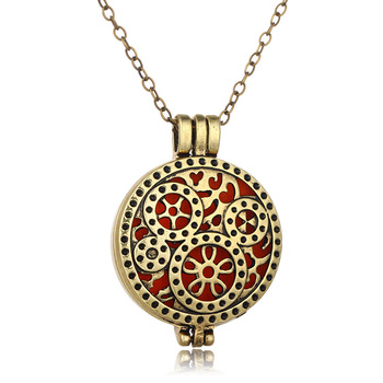 Stainless Steel Hollow Aromatherapy Essential Oil Locket Pendant Necklace