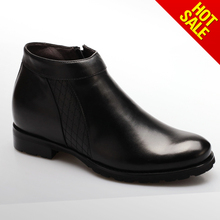 New model ankle dress boots/leather mens boots with natural fur