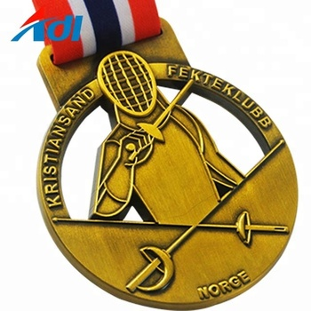 Custom cheap kids sports fencing gold plated medailles medals