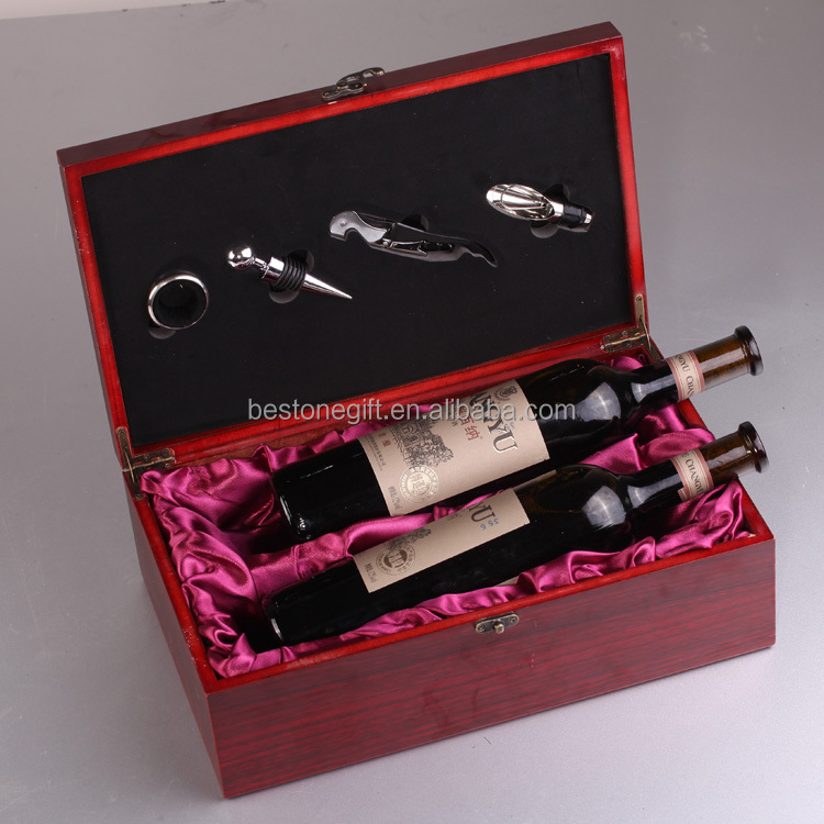 Best Christmas Gift Wine Set 2 Bottle Wooden Wine Box