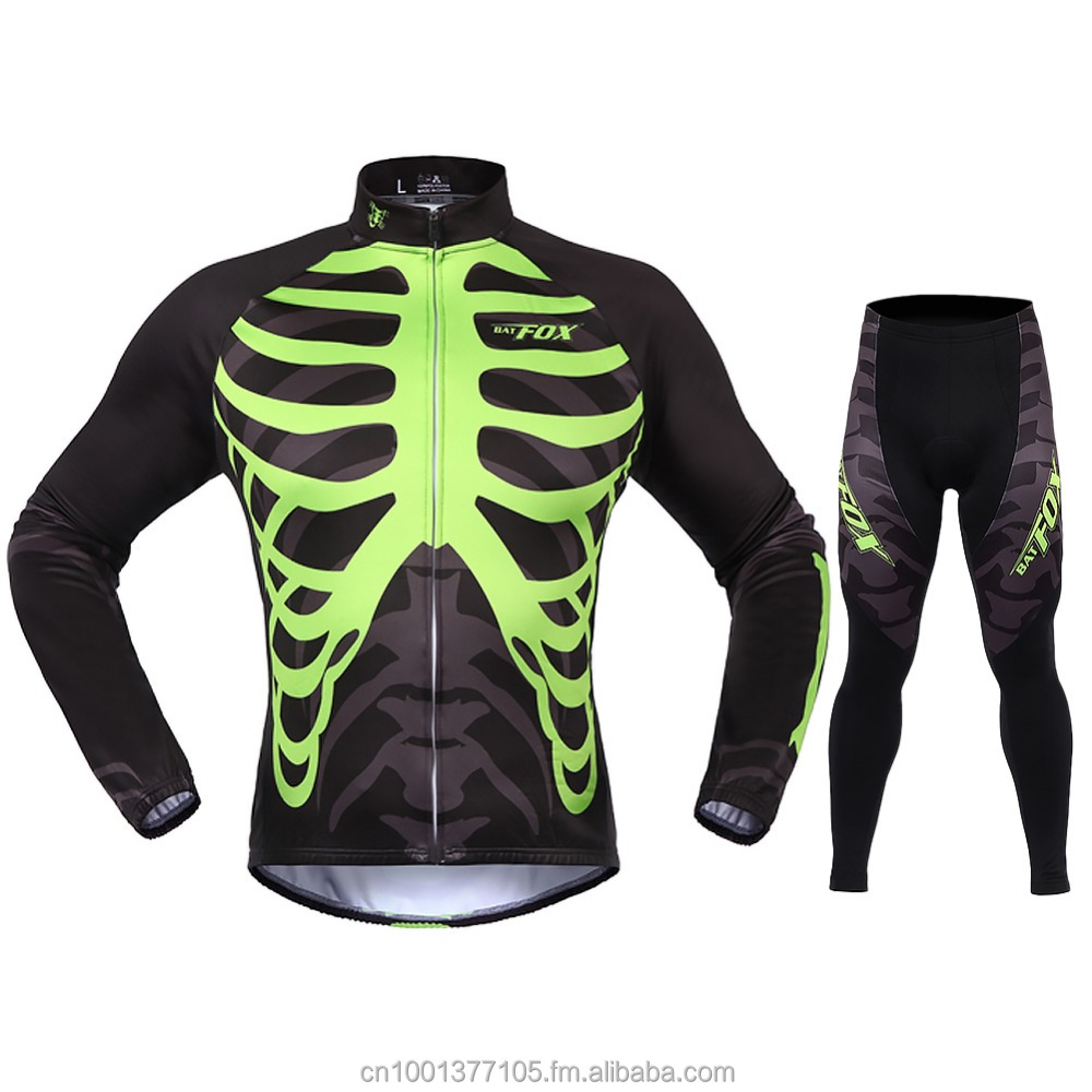 Autumn Winter Long Sleeve <strong>Cycling</strong> with Pants Jersey with Sets Women Men Skull <strong>Cycling</strong> Thermal Fleece Black Green S-3XL Kits Sui