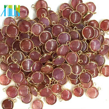 Gold Plate Natural Small Coin Shape Agate Bead Double Bail Connector Jewelry Making Charms