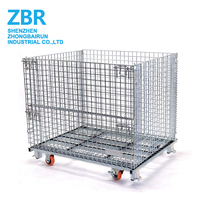 Industrial Lockable Wire Mesh Metal Storage Cage Container with Wheels