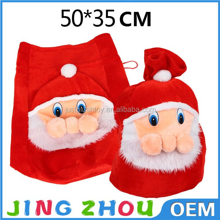 Happy new year 2016 Christmas bag ,plush large gift bags with Santa Claus pattern