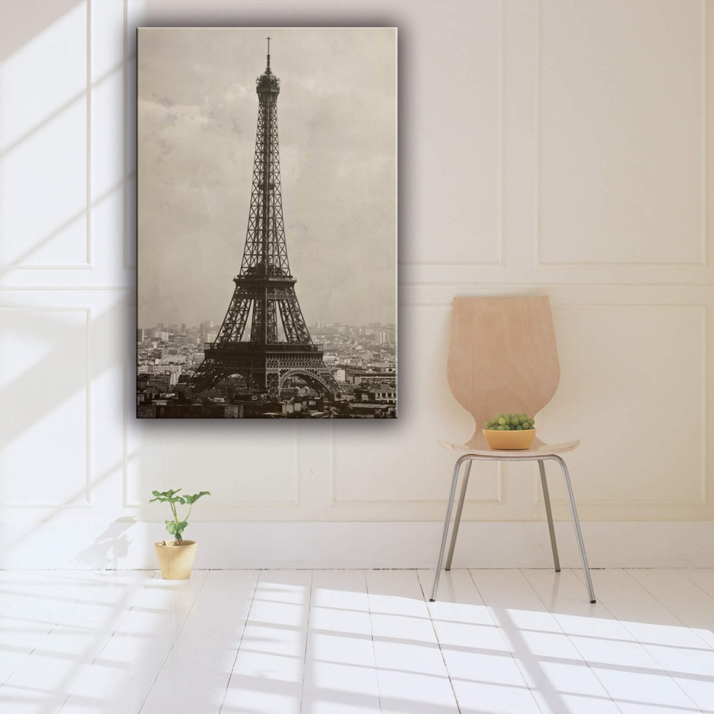 Handpainted Eiffel tower beautiful decoration wall scenery canvas painting