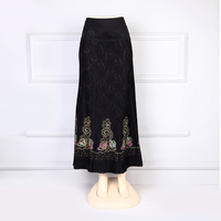 Muslim clothes embroidered diamonte long skirt black lace maxi skirt plus size women clothing muslim skirt