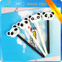 Wholesale cartoon black/white panda plastic 0.38mm black ink ball point sign pen for promotion