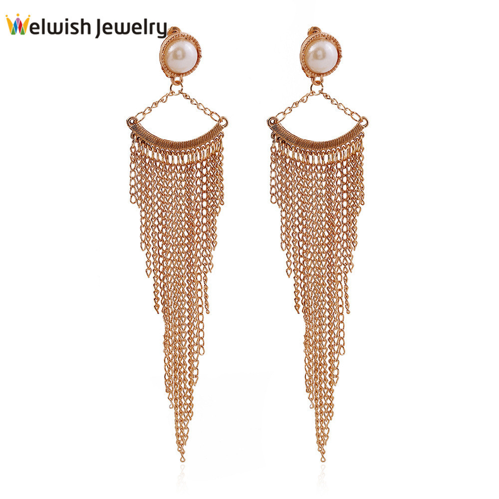 New Wholesale European Latest Design Women Fancy Iron Tassel Earring