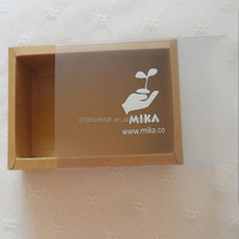 Custom drawer paper gift box packaging box with plastic sleeve