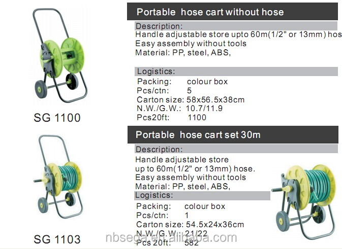 retractable garden water hose reel with pvc hose fitting set SG1101