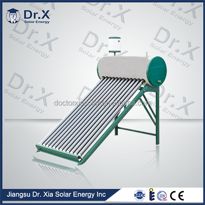 Jiangsu Dr.X brand compact color steel patent vacuum tube solar water heaters price in home solar systems