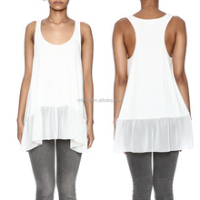 Scoop Neckline Racer Back Semi Sheer Chiffon Ruffle Tiered Hem Ribbed Tank Top Extender Chiffon Ruffled Up Tank