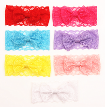 Fashion Cute Colorful Bowknot Hair Bow Lace Baby Headbands For Girls B346