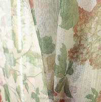 traditional style curtain with traditional floral print voile, print blackout curtain and sheer curtain flame retardant