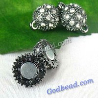 P1(21) fashion DIY Jewelry clasp magnetic hematite clasp findings round bead clasp crystal round ball clasp