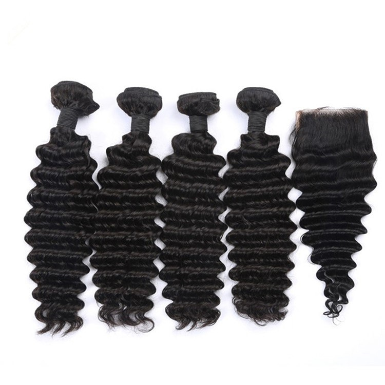 7A Cheap Brazilian Deep Wave Virgin Hair Bundles And Closure Human Hair Weave For Black Women