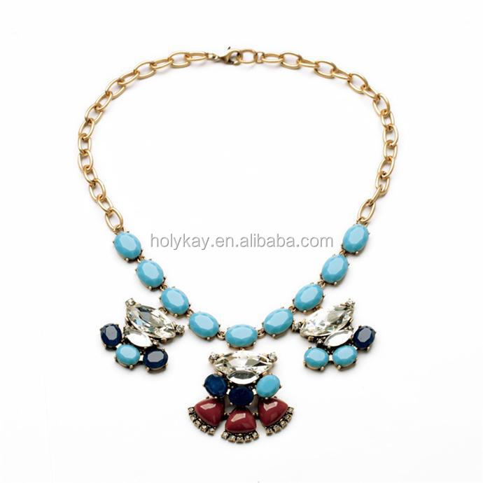 2015 new arrived kallaite bead gold plated necklace