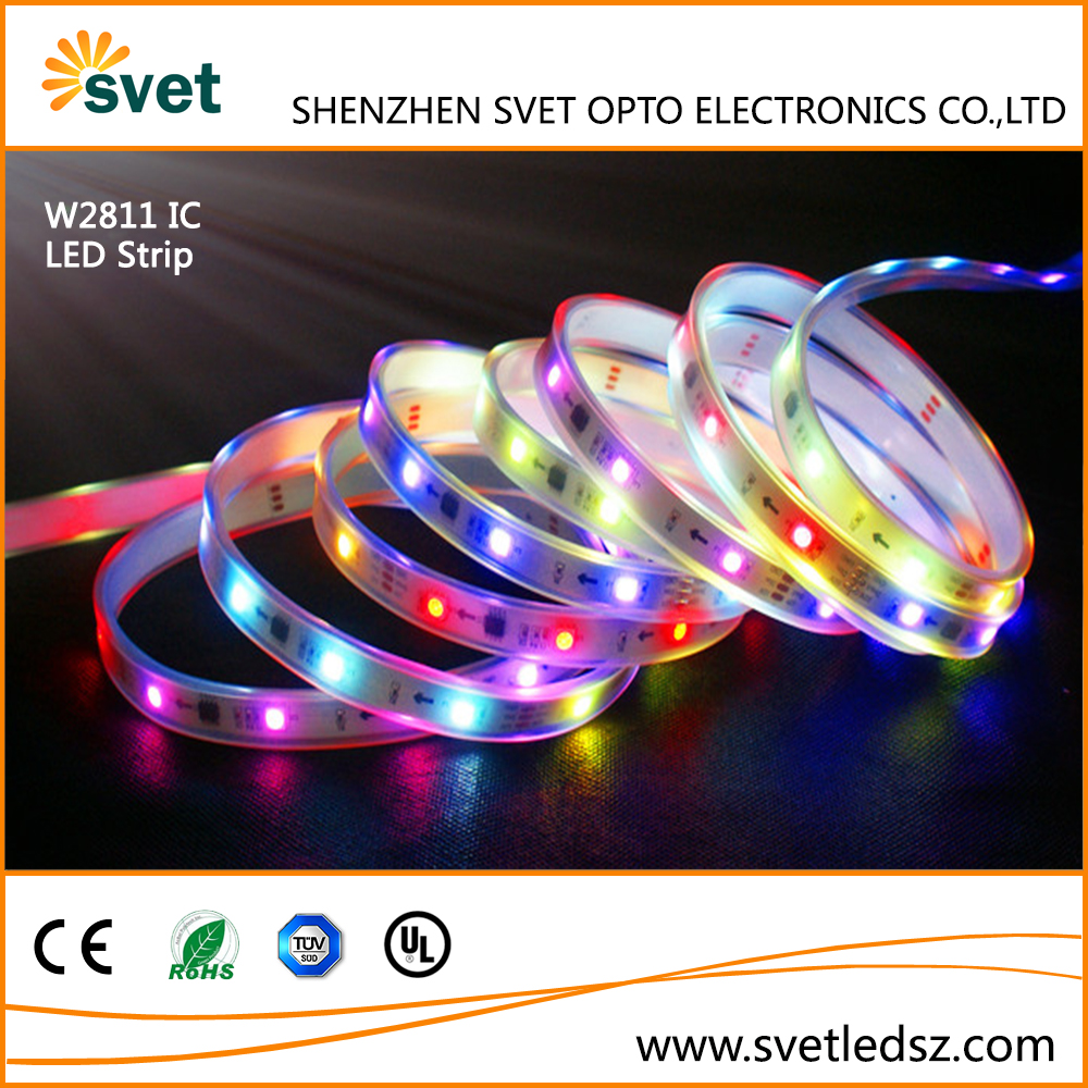 Wholesale Individually Addressable 30 LEDs/M Pixels WS2811 SMD5050 RGB LED Strip Light IP67 Waterproof