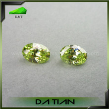 High quality oval cut apple green rough zircon gemstone