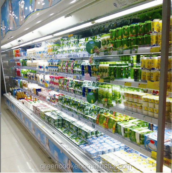 Guangzhou factory supermarket commercial air curtain upright cooler