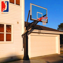 professional inground adjustable basketball system with 12mm glass backboard and breakaway rim