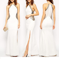 B33208A Wholesale popular women dresses fashion V neck evening prom dresses