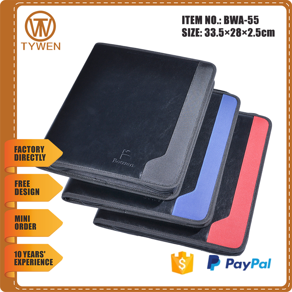 multicolor cover file folder/zipper leather portfolio case with calculator/card holders/notepad pocket BWA-55