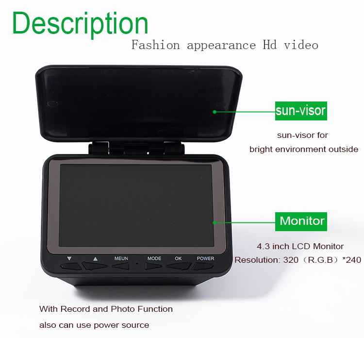 4.3 inch LCD Monitor fish finder 30M HD Underwater Fishing Camera DVR Video Recorder Photo 140 Degrees 8pcs IR LED Fishfinder