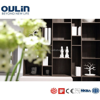 Wood veneer open bookshelf MDF board kitchen cabinets
